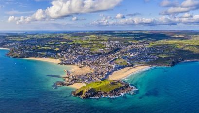 Aerial view of St. Ives, Cornwall, England, United Kingdom, Europe