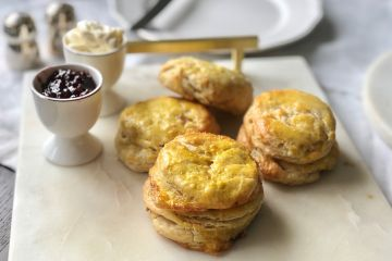 scones served with clotted cream and jam