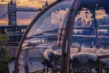 Winter at Coppa Club, River Thames, Tower Bridge, London
