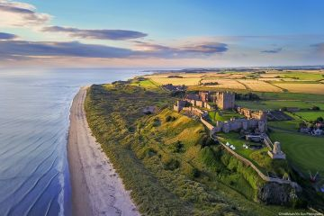 An aerial shot of Bamburgh Castle on the Northumberland coast.