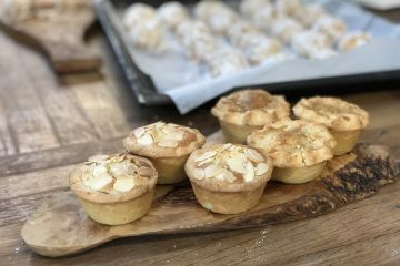 mince pies on a wooden table