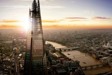 View of the shard at sunset