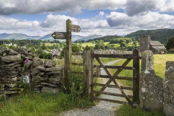 Footpath in Hawkshead, Lake District, Cumbria, England