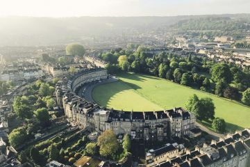 View from a hot air balloon of the Royal Crescent, Bath, England