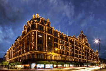Harrods in Knightsbridge lit up for the holidays