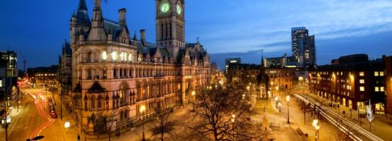 Manchester Town Hall and Albert Square at night