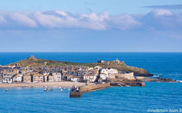 st ives in cornwall aerial shot