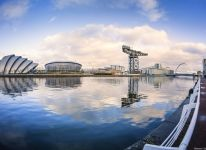 Landmarks on the River Clyde in Glasgow looking towards the Clyde Arc bridge.