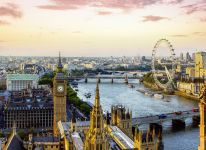 View from Victoria Tower of the Houses of Parliament, the River Thames, Westminster and Westminster Bridge, with the London Eye in the distance, London. Credit VisitBritain/Andrew Pickett