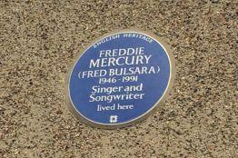 De Blue Plaque op het huis van Freddie Mercury in Londen