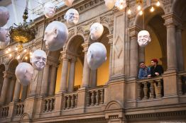Floating Heads Installation by Sophie Cave at the Kelvingrove Art Gallery and Museum, Glasgow, Scotland.