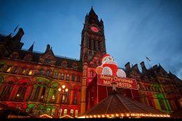 Manchester German Christmas Markets at Albert Square Manchester Town Hall. Manchester Christmas Market