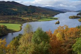Loch Tummel from Queens View, Pitlochry. The view from above. The Highlands in autumn.