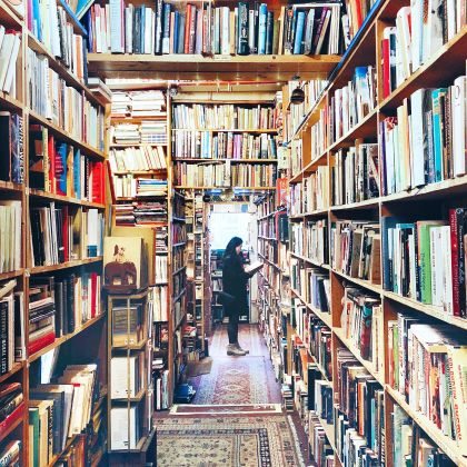 Interior view of Armchair Bookshop, Edinburgh, Scotland.