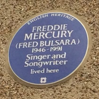Blue Plaque Freddie Mercury in Kensington, London