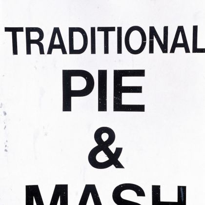 Traditional pie & mash sign in London