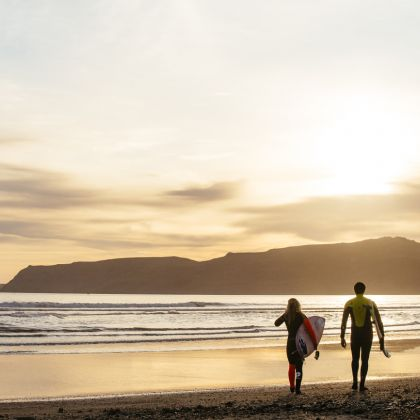 Surfing at Hell's Mouth, Abersoch, North Wales