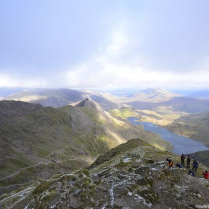 A view from the summit of Snowdon across the hills and valleys