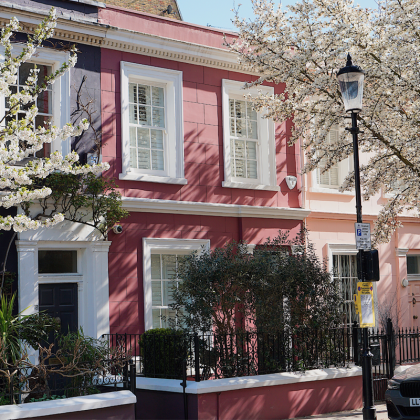 Farverige huse i Notting Hill, London, England