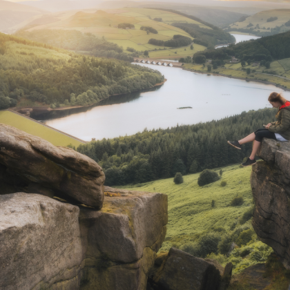 Woman sitting on a rock at Bamford Edge looking down the valley with sunsetting, Derbyshire, England