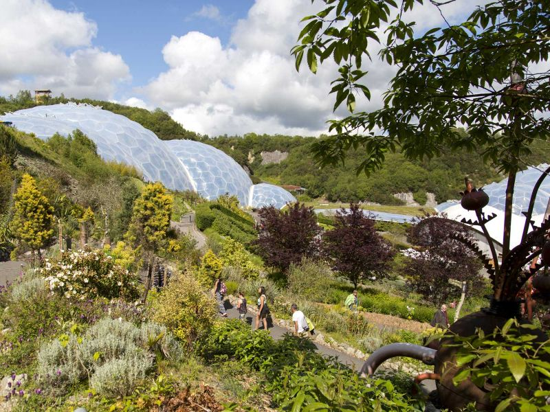 The Eden Project, Cornwall. One biome houses the world's largest indoor rainforest.
