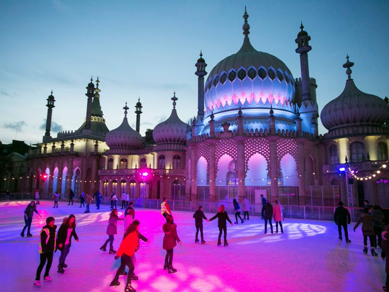 Ice skating outside the Brighton Pavilion