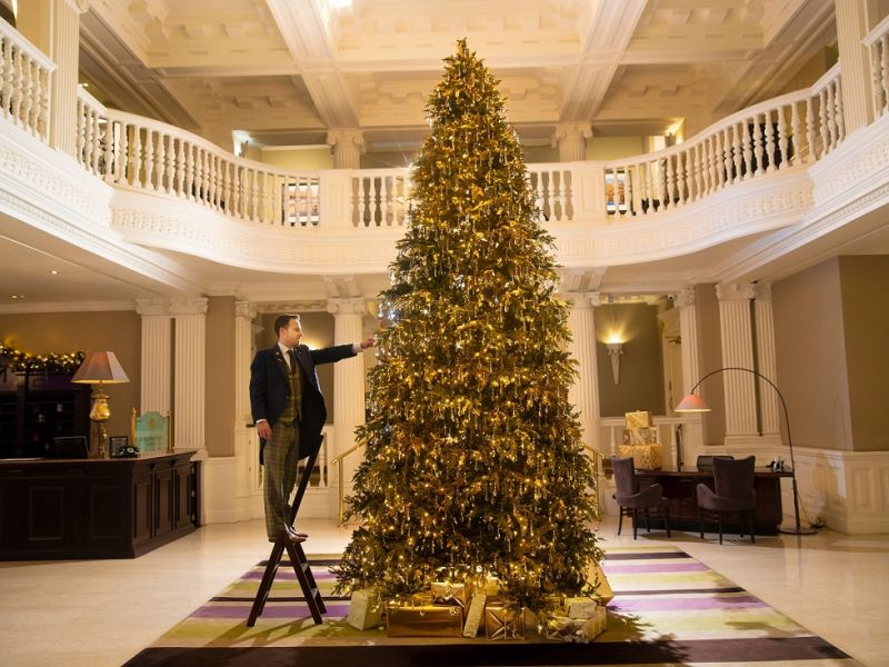 Christmas tree at Balmoral hotel in Edinbrugh