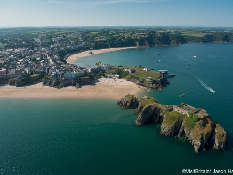Aerial view of Pembrokeshire area in Wales