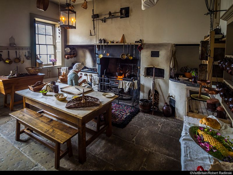 The kitchen at William Wordsworth's childhood home, The National Trust's Wordsworth House and Garden, Cumbria, England.