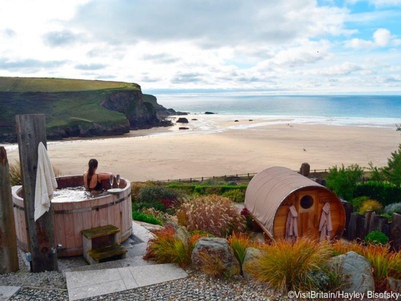 Hot tub at Scarlet Hotel Spa in Cornwall, England