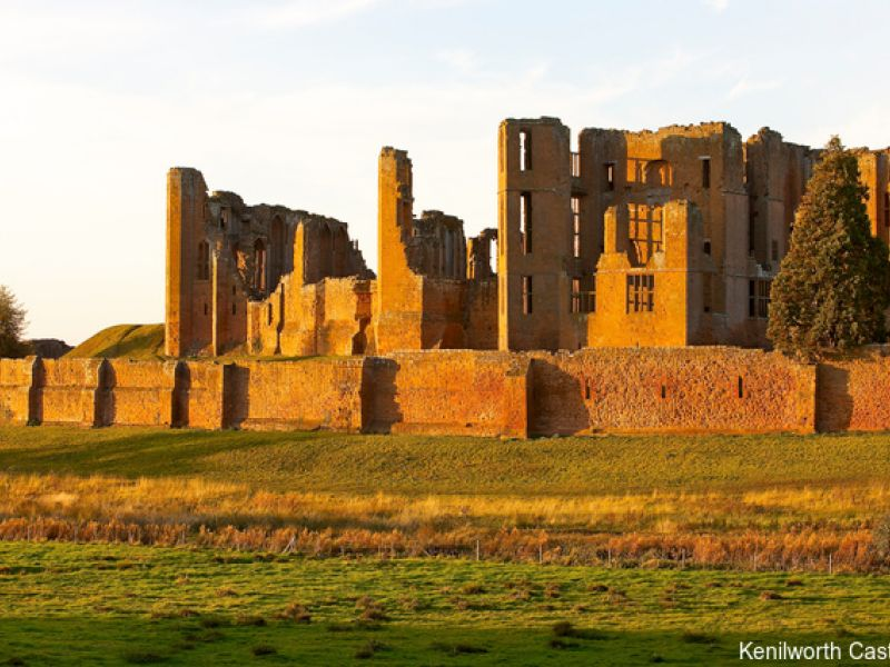 Kenilworth Castle in Warwickshire. Castle ruins of a Norman fortress and Elizabethan palace.