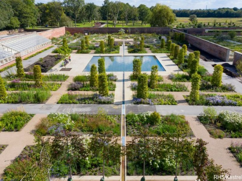 Aerial view of the Paradise Garden at RHS Bridgewater