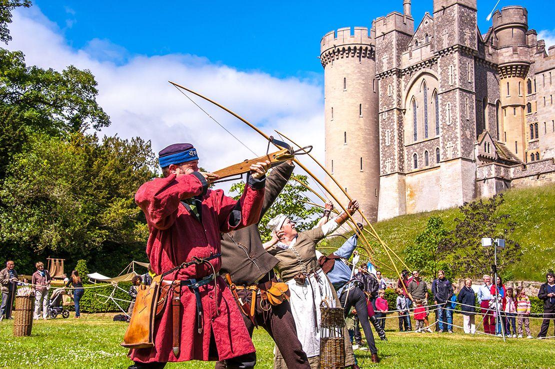 Reuniões medievais no Castelo de Arundel, Sussex Ocidental, Inglaterra