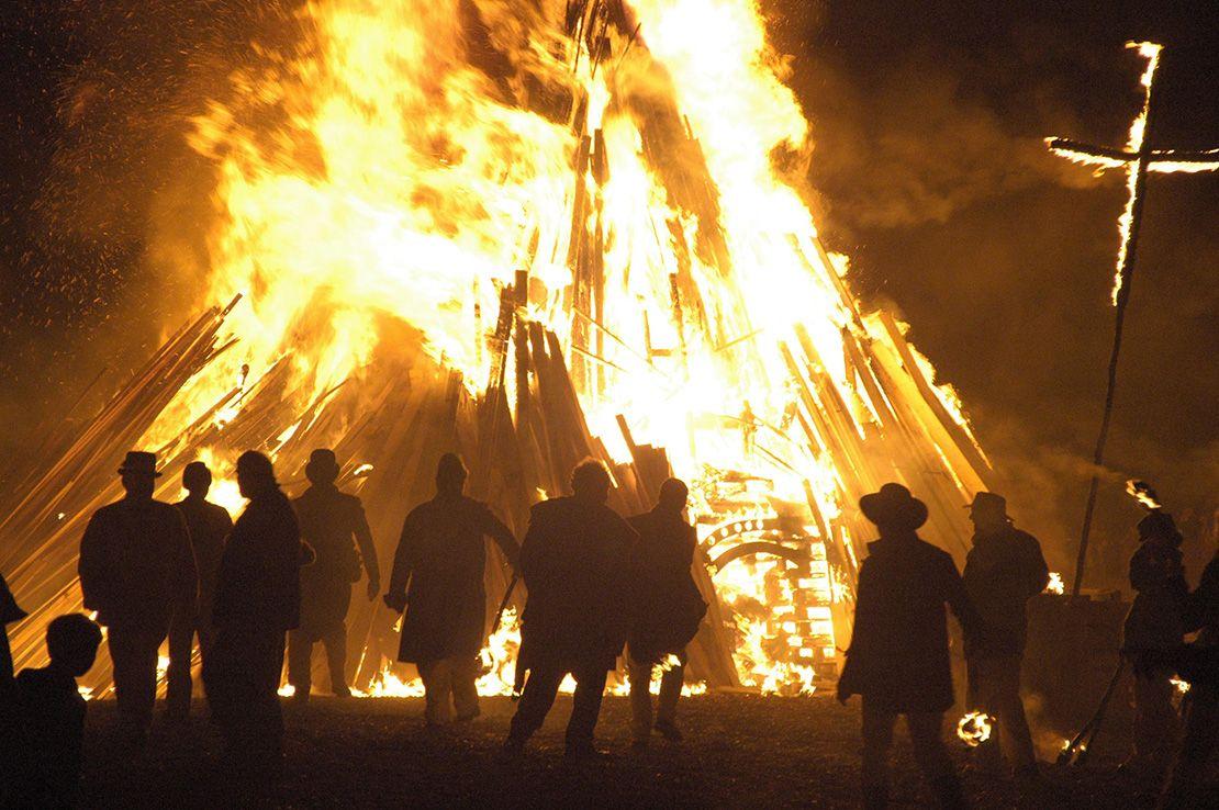 Bonfire at Battle of Hastings reenactment festival, England