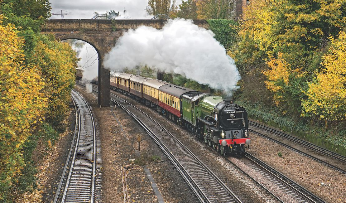 The Belmond British Pullman travelling through the countryside
