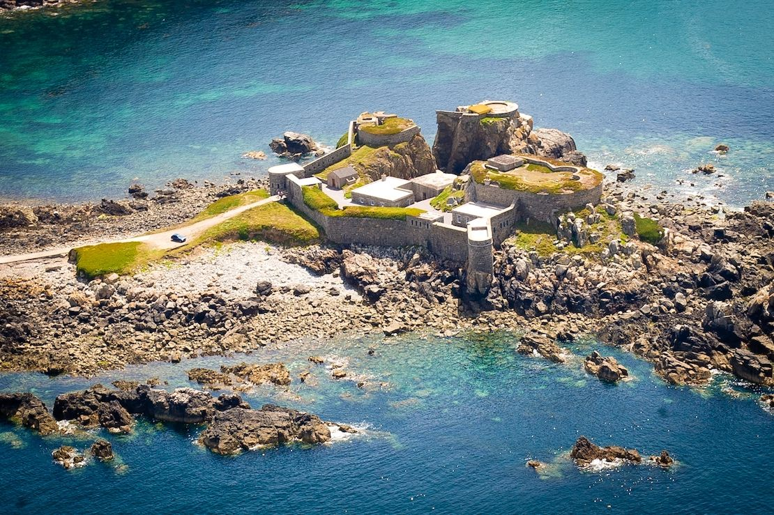 Fort Clonque surrounded by sea, from above