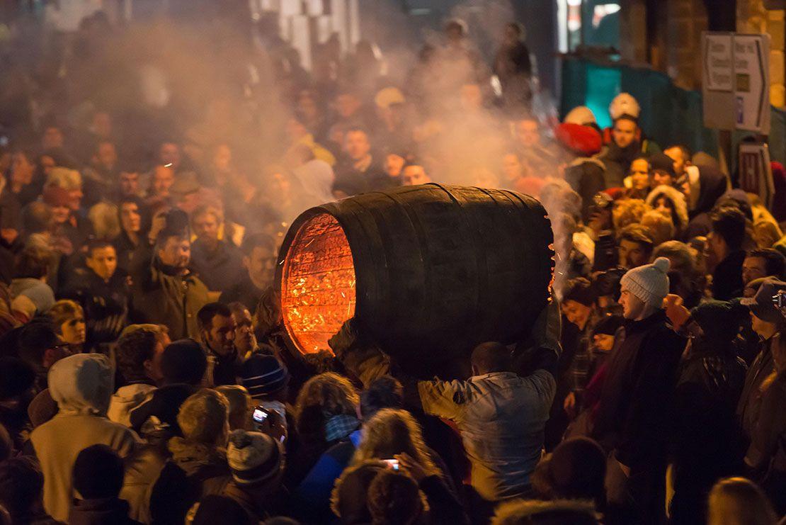 Ottery Tar Barrels festival, Devon, England