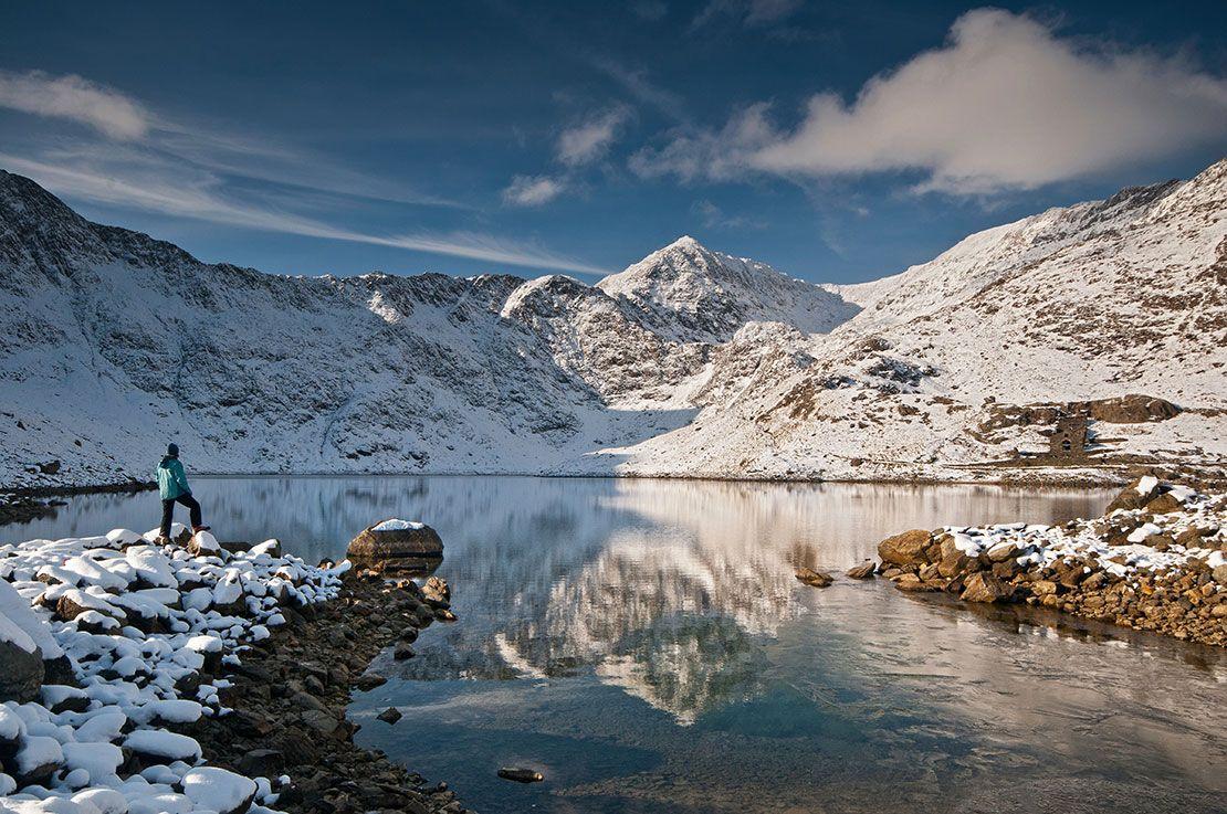 Walker looking towards snow-covered summit of Snowdon (Yr Wyddfa) from Llyn Llydaw lake