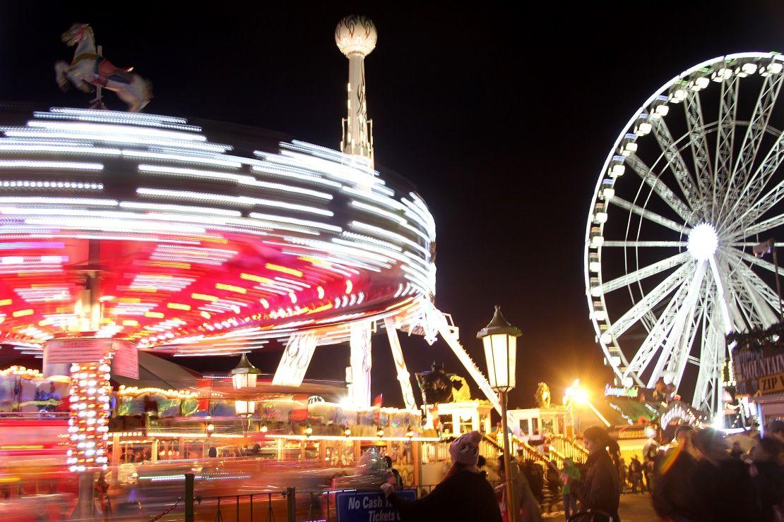 Fairground rides at Winter Wonderland in Hyde Park
