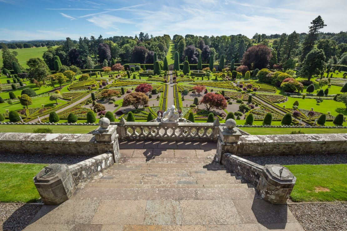 Drummon Castle dates from the 15th Century and sits in the largest formal garden in Scotland