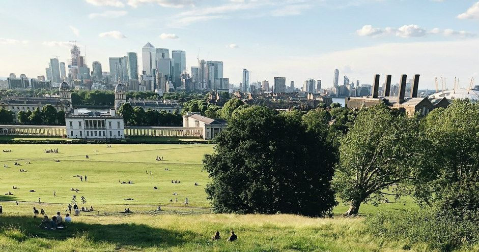 Greenwich Park, London. Royal Park with views of London skyline.