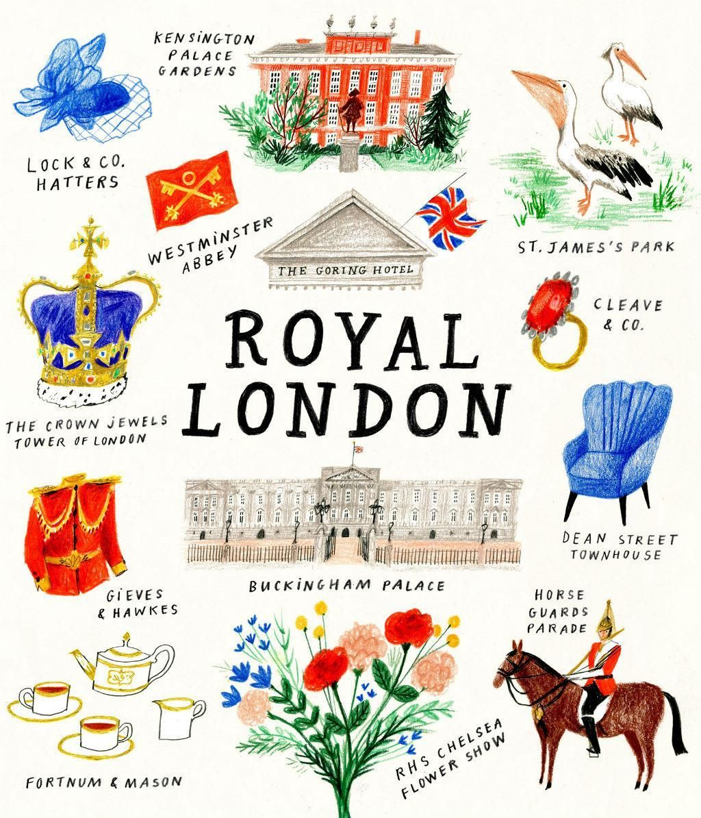London's Royal locations illustration. Credit: Nina Cosgrove