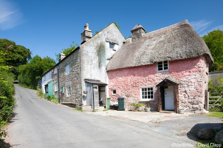 Old cottages in Ponsworthy Village, close to Widecombe-in-the-Moor.