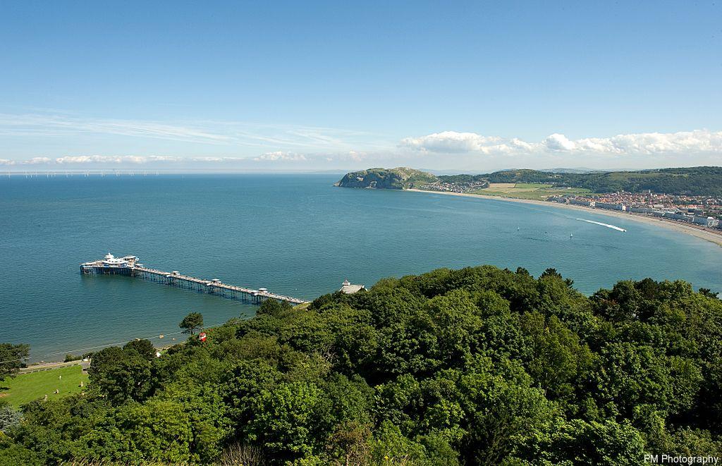 Bay and pier in Llandudno, Wales.