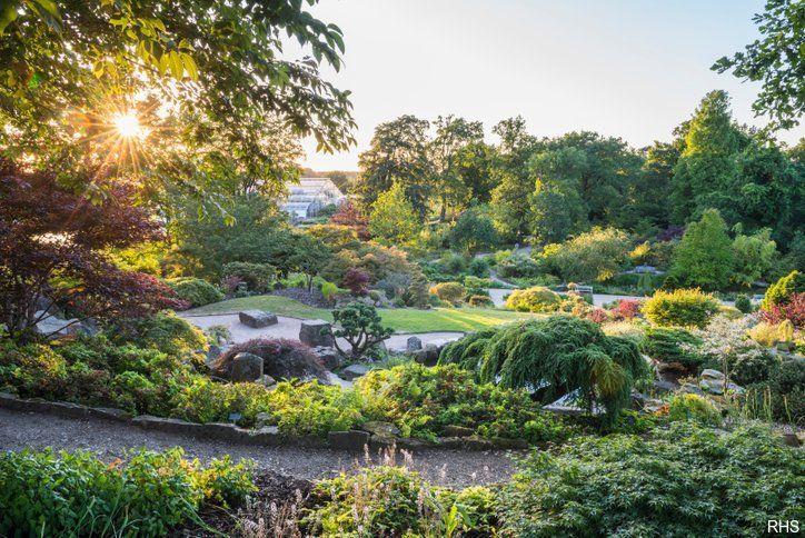 Rock Garden at RHS Wisley at sunset, Surrey, England