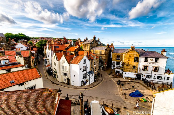 Birds eye view of the village and Robin Hoods Bay, North Yorkshire, England