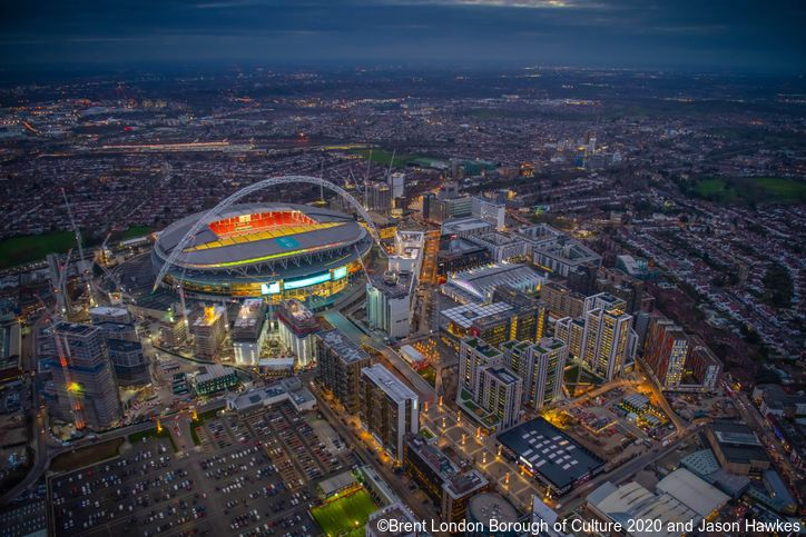 Aerial photograph of Wembley Stadium and Brent, London Borough of Culture 2020. Credit to Brent London Borough of Culture 2020 and Jason Hawkes