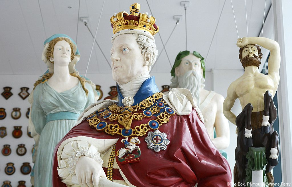 Unveiling of the ships figureheads at the Box Museum, Plymouth, Devon.