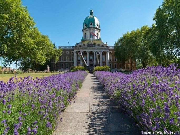 View of the front of IWM London (North Entrance), taken from the Geraldine Mary Harmsworth Park.Credit to Imperial War Museum