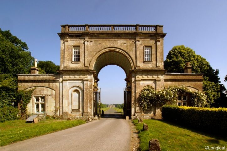 East Lodge with Longleat House in the background, Longleat, Wiltshire, England.
